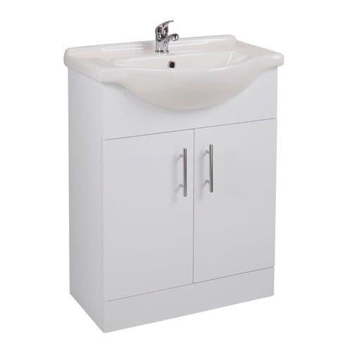 Jupiter Kass Gloss White 2-Door Bathroom Floorstanding 650mm Vanity Unit With Basin KS65BU-BAS