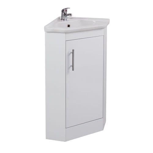 Jupiter Kass Gloss White 535mm Wide Single Door Mini Corner Vanity Unit With Basin - KASK007