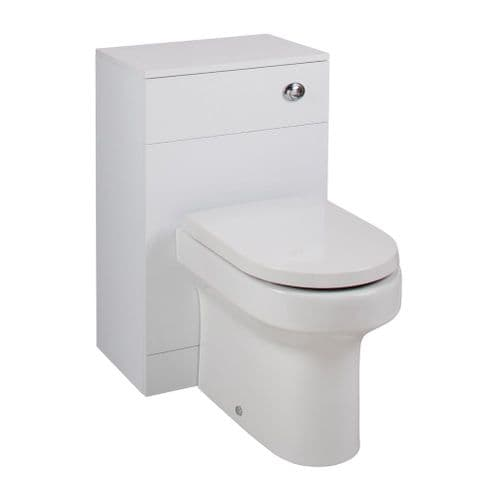 Jupiter Kass Montego D Shaped WC Unit with Pan and Seat + Cistern 850mm Depth Gloss White KASK005