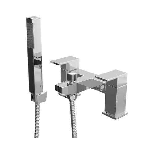 Jupiter Luna Chrome Modern Square Lever Bath Shower Mixer Tap With Handset FRM002