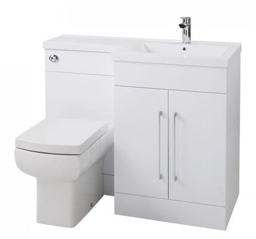 Jupiter Maze Gloss White 1090mm L-Shape Vanity Unit Furniture Suite With Mid Edge Basin RHFPGW-RH