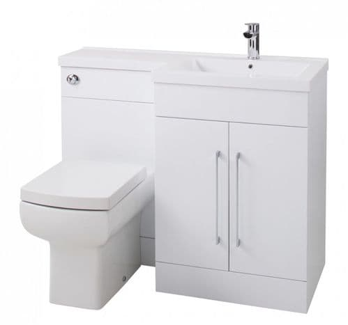 Jupiter Maze Gloss White 1090mm L-Shape Vanity Unit Furniture Suite With Mid Edge Basin RHFPGW-RH