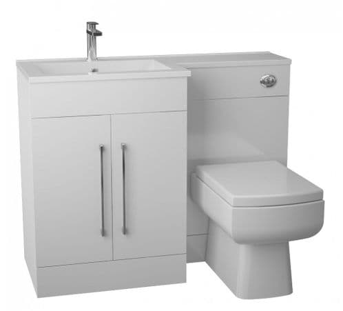 Jupiter Maze Gloss White 1090mm L-Shape Vanity Unit Furniture Suite With Thin Edge Basin CHI022-RH