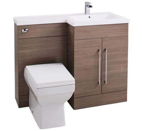 Jupiter Maze Medium Oak 1090mm L-Shape Vanity Unit Furniture Suite With Thin Edge Basin - CHI023-RH