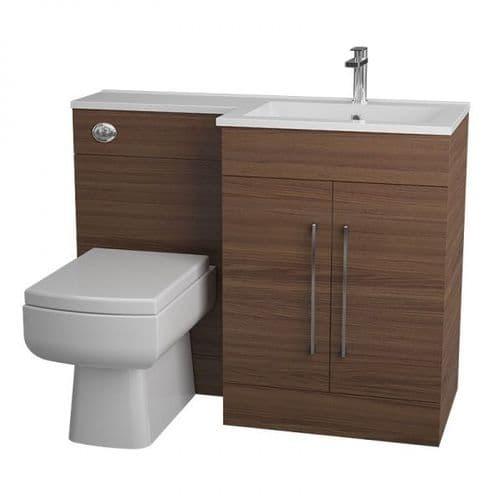 Jupiter Maze Walnut 1090mm L-Shape Vanity Unit Furniture Suite With Thin Edge Basin - CHI021-RH