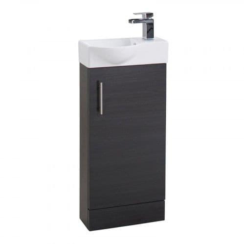 Jupiter Mini  W400mm x D225mm 1-Door Bathroom Cloakroom Vanity Unit With Basin Black Finish  CHI017