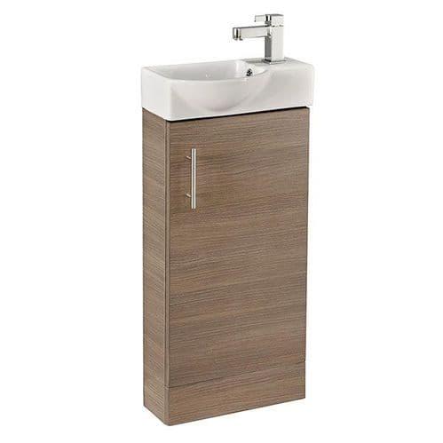 Jupiter Mini  W400mm x D225mm 1-Door Bathroom Cloakroom Vanity Unit With Basin Oak Finish  CHI007