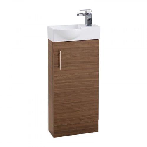 Jupiter Mini  W400mm x D225mm 1-Door Bathroom Cloakroom Vanity Unit With Basin Walnut Finish  CHI008