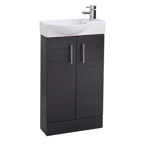 Jupiter Mini  W500mm x D250mm 2-Door Bathroom Cloakroom Vanity Unit With Basin Black Finish  CHI018