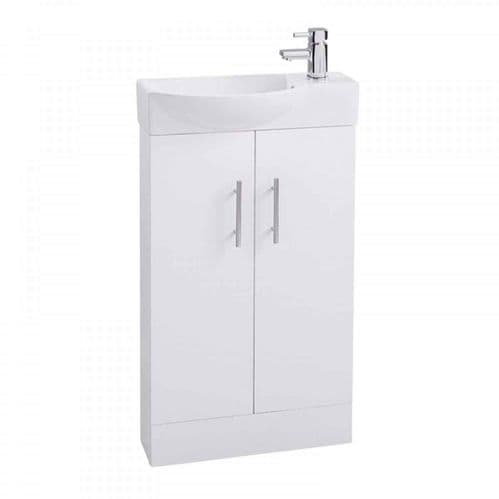 Jupiter Mini  W500mm x D250mm 2-Door Bathroom Cloakroom Vanity Unit With Basin Gloss White  CHI013