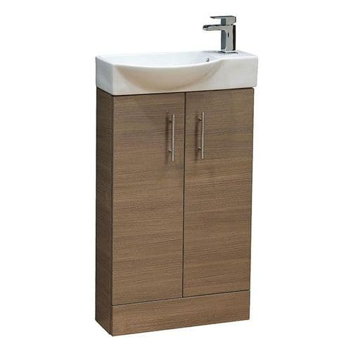 Jupiter Mini  W500mm x D250mm 2-Door Bathroom Cloakroom Vanity Unit With Basin Medium Oak  CHI010