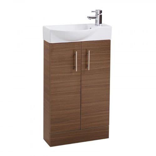 Jupiter Mini  W500mm x D250mm 2-Door Bathroom Cloakroom Vanity Unit With Basin Walnut Finish  CHI009