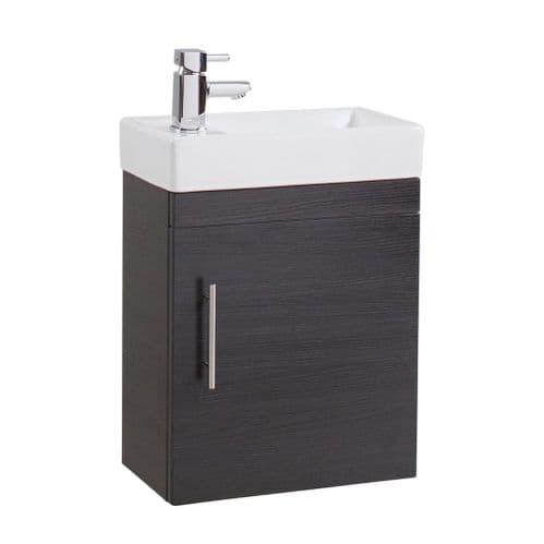 Jupiter Minialist Black Ash Wall Hung Vanity Unit 1-Door with Basin 400mm Wide CUBK002