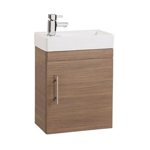 Jupiter Minialist Oak Finish Wall Hung Vanity Unit 1-Door with Basin 400mm Wide CUBK003