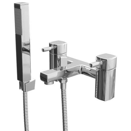 Jupiter Nero Deck Mounted Square Bath Shower Mixer And Handset Kit NER002