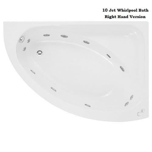 Jupiter Orlando Corner Whirlpool Bath 1500mm x 1020mm with 10 Jets