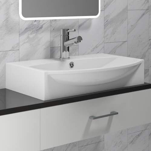 Jupiter Rectangular 600mm Wide Centre Tap Above Counter Basin with Tap Hole BAS004