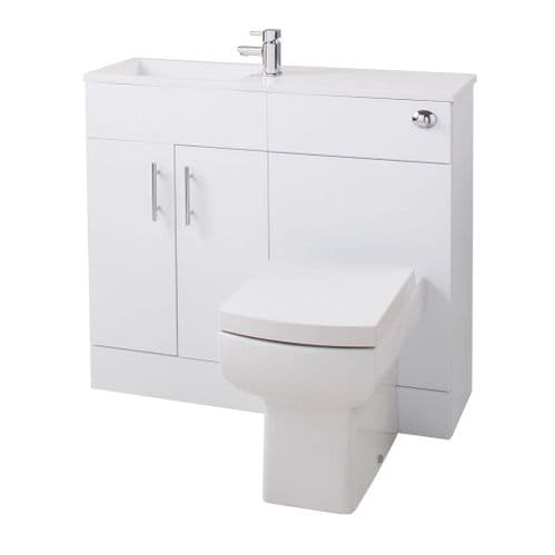 Jupiter Slimline Gloss White 995mm Vanity Unit Furniture Suite With Reversible Basin - SLFP