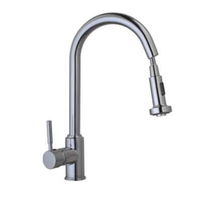 Jupiter Solid Brass Mono Kitchen Sink Mixer Tap with Pull Out Rinser and Swivel Spout KTAP2