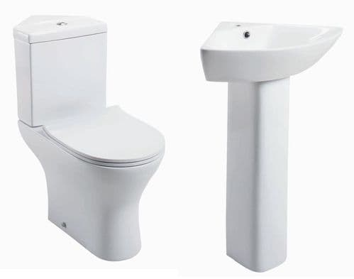 Jupiter Spek Bathroom Suite Close Coupled Corner Toilet, Cistern, Slimline Seat, Full Pedestal Basin