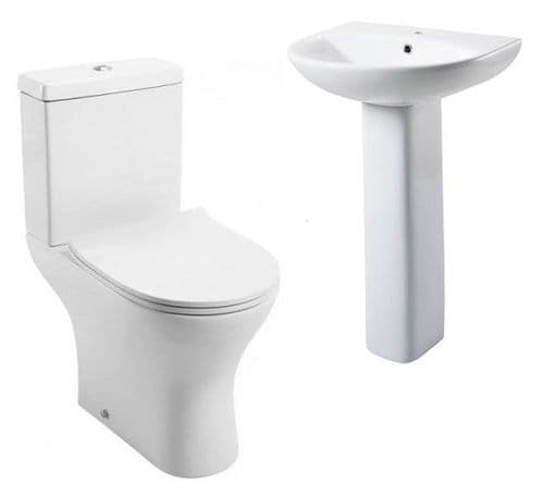 Jupiter Spek Bathroom Suite Close Coupled Toilet, Cistern, Slimline Seat, Full Pedestal Basin
