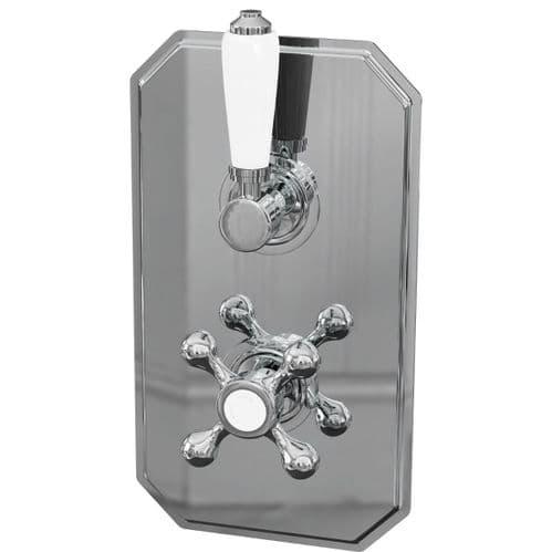 Jupiter Tudor Traditional Dual Handle 1-way Thermostatic Concealed Shower Valve - Chrome TRAD002