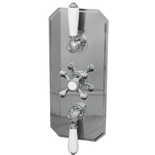 Jupiter Tudor Traditional Triple Handle 2-way Thermostatic Concealed Shower Valve - Chrome TRAD003