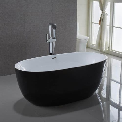 Jupiter Venice Plus Black Large 1700mm x 840mm Double Ended Freestanding Bath - 2 Person Width