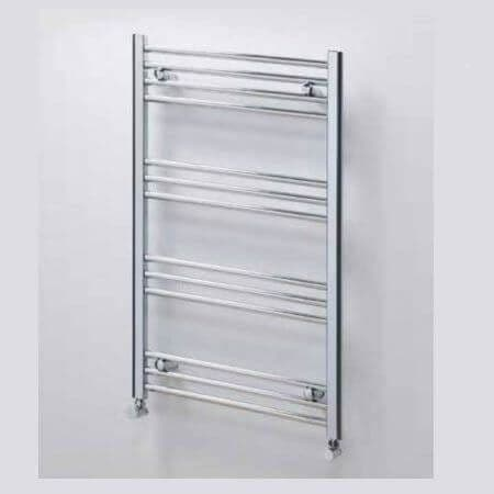 Jupiter York Flat Chrome Vertical Designer Towel Rail Radiator L 1000mm x W 600mm