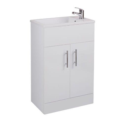 Kass Gloss White 2-Door Bathroom Floorstanding 530mm Vanity Unit & Minimalist Basin KS53BU-BAS