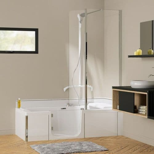 Kineduo White 1600mm x 750mm Left Handed Easy Access Shower Walk in Bath