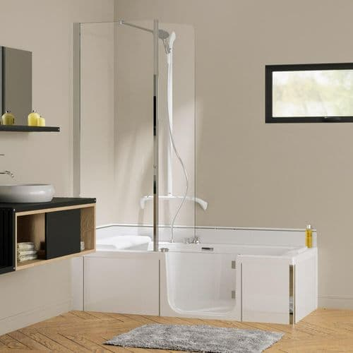Kineduo White 1600mm x 750mm Right Handed Easy Access Shower Walk-in Bath