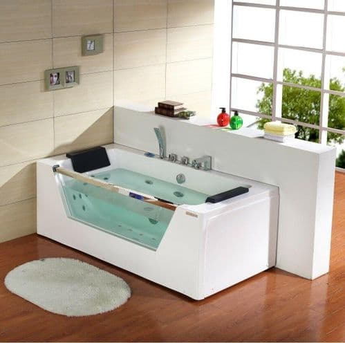 Lisna Waters Lisbon Straight Double Ended Whirlpool Bath & AirSpa Baths 1700mm x 800mm 22 Jets