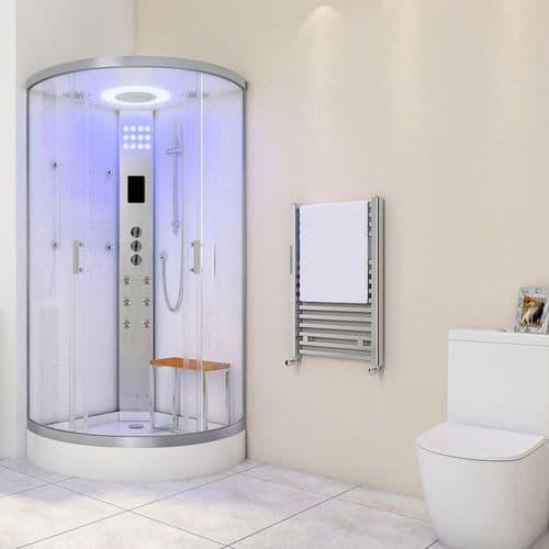 Lisna Waters LW30 800mm x 800mm White Quadrant Steam Shower Enclosure