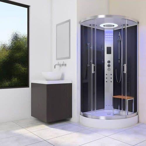 Lisna Waters LW30 Black 800mm x 800mm Quadrant Steam Shower Enclosure