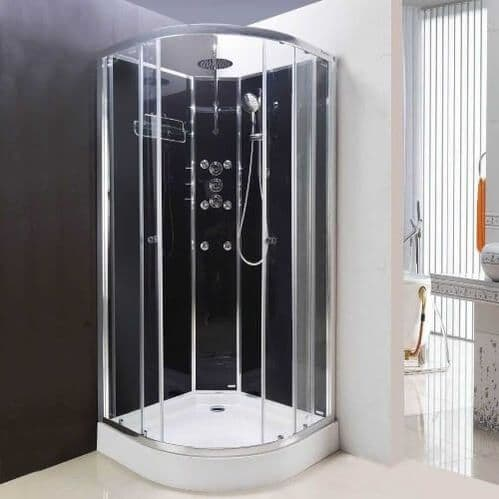 Lisna Waters Olympia Black 800 x 800mm Hydro Massage Shower Cabin LW16