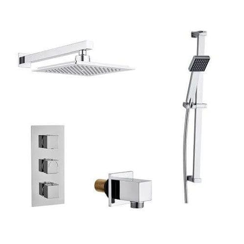 Madrid Modern Square Triple TMV2 Thermostatic Concealed Shower Valve, Fixed Head & Slide Rail Kit