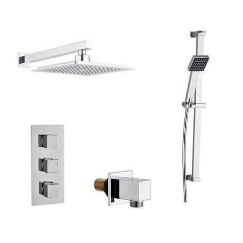 Madrid Modern Square Triple TMV2 Thermostatic Concealed Shower Valve, Fixed Head & Slide Rail Kit