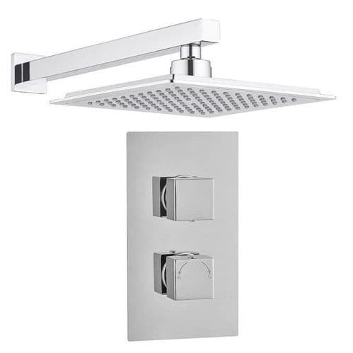Madrid Modern Square Twin TMV2 Concealed Thermostatic Shower Mixer Valve +  Shower Head