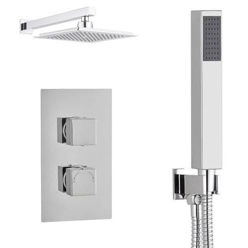 Madrid Square Diverter TMV2 Concealed Thermostatic Shower Valve, Wall Mounted Shower Head & Handset