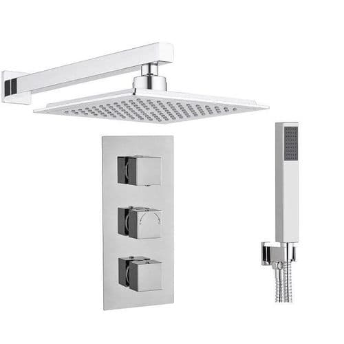 Madrid Square Triple TMV2 Concealed Thermostatic Shower Mixer Valve, Wall Mounted ShowerHead Handset