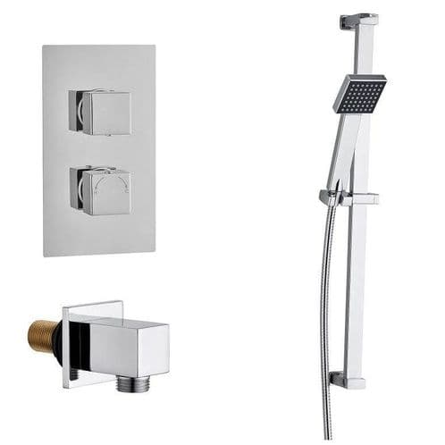 Madrid Square Twin TMV2 Concealed Thermostatic Shower Valve - Slide Rail Kit Elbow & Handset Pack