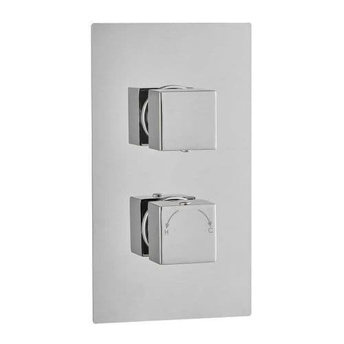 Madrid Square Twin with Diverter TMV2 Concealed Thermostatic Shower Valve WRAS Chrome Brass
