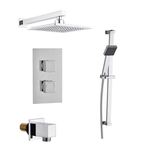 Madrid Square Twin with Diverter TMV2 Concealed Thermostatic Valve, Fixed Head & Slide Kit Pack
