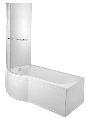Moods Luxury Small Showering Bath 1495mm x 700mm P Shaped Baths - DIBSHP018