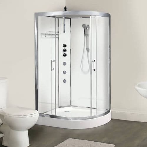 Opus iLock Left Hand Hydro Massage Shower Cabin 1200mm x 800mm Polar White Glass - 20 Minute Build