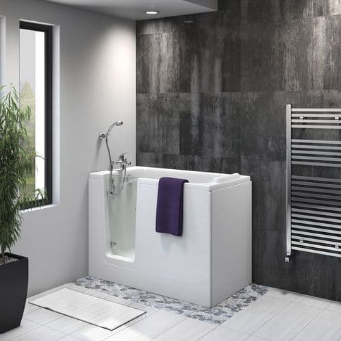 Priya Left Hand Easy Access Bath Deep Soaker Walk In Bath 1210mm x 650mm