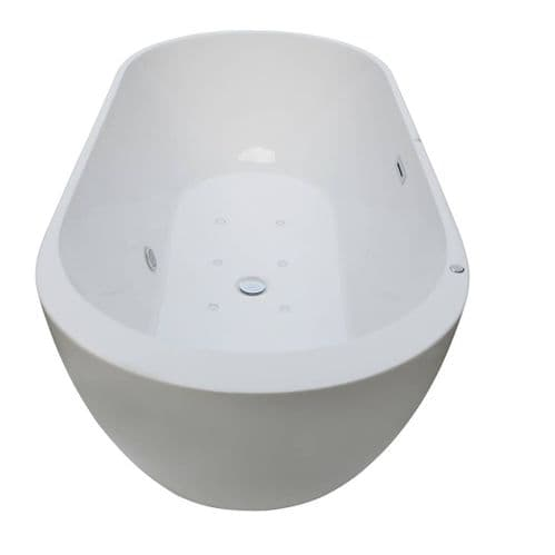 Roman White 1700mm x 800mm 8 Spa Jets Double Ended Freestanding Baths Whirlpool Stand-Alone Bath