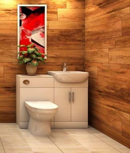 Saturn White Gloss 1050mm Bathroom Vanity WC Unit Furniture inc BTW Toilet