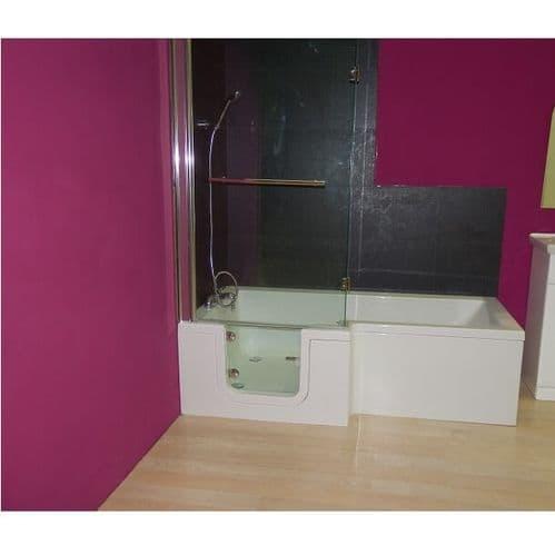 Savana Left Hand L Shaped Walk In Shower Bath 1670mm x 850mm